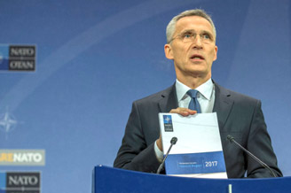 NATO Secretary General Jens Stoltenberg presents his Annual Report for 2017, highlighting efforts towards fairer burden-sharing within the Alliance