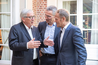 President of the European Commission Jean-Claude Juncker, NATO Secretary General Jens Stoltenberg and President of the European Council Donald Tusk exit a working dinner