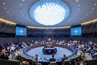 The meeting room at the new NATO Headquarters in Brussels where the North Atlantic Council unites Europe and North America