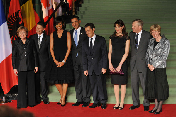 From left to right: Angela Merkel, Chancellor of the Federal Republic of Germany and her husband; the President of the United States Barrack H. Obama and Mrs. Obama; Nicholas Sarkozy, President of France and Mrs. Sarkozy; NATO Secretary General Jaap de Hoop Scheffer and Mrs de Hoop Scheffer
