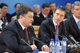 Head of the table Left to right: ; Petro Poroshenko (Minister of Foreign Affairs, Ukraine) and NATO Secretary General, Anders Fogh Rasmussen