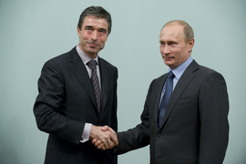 NATO Secretary General Anders Fogh Rasmussen and the Prime Minister of Russia Vladimir Putin.