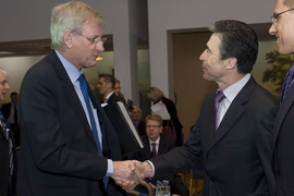 The Minister of Foreign Affairs of Sweden, Carl Bildt and NATO Secretary General Anders Fogh Rasmussen.