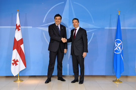 Left to right: President Mikheil Saakashvili of Georgia shaking hands with NATO Secretary General, Anders Fogh Rasmussen
