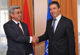 NATO Secretary General Anders Fogh Rasmussen shakes hands with the President of Armenia, Mr. Serzh Sargsyan