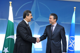 Arrival and bilateral: Left to right: Yousuf Raza Gilani (Prime Minister of Pakistan) shaking hands with NATO Secretary General, Anders Fogh Rasmussen