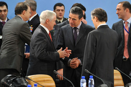 Meeting of the NATO-Georgia Council (NGC) Left to right: Robert Gates (US Secretary of Defense) talking with NATO Secretary General, Anders Fogh Rasmussen and Ambassador Claudio Bisogniero (Deputy Secretary General)
