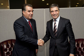 From left to right: the President of the Republic of Tajikistan, Emomali Rahmon shaking hands with NATO Secretary General Anders Fogh Rasmussen.