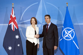 Arrival Left to right: Julia Eileen Gillard (Prime Minister of Australia) shaking hands with NATO Secretary General, Anders Fogh Rasmussen