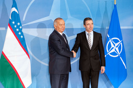 Left to right: President Islam Karimov shaking hands with NATO Secretary General, Anders Fogh Rasmussen