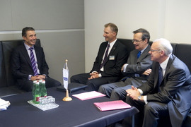 Bilateral meeting with the representatives of the Lithuanian Chairmanship and the OSCE Secretary General. Left to right: NATO Secretary General Anders Fogh Rasmussen; Kestutis Jankauskas, Permanent State Secretary of the Ministry of Foreign Affairs of Lithuania; OSCE Secretary General, Marc Perrin de Brichambaut; and the Lithuanian Ambassador to the OSCE Renatas Norkus.