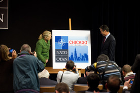 Meetings of the Ministers of Foreign Affairs at NATO Headquarters, Brussels - Unveiling of the Official Logo for the Chicago Summit in 2012