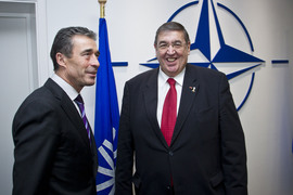 NATO Secretary General Anders Fogh Rasmussen welcomes the NATO Parliamentary Assembly President Dr. Karl A. Lamers for a bilateral meeting on Monday, 13 February 2012, in connection with the NATO Parliamentary Assembly annual joint meeting with the North Atlantic Council.