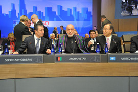 NATO Secretary General Anders Fogh Rasmussen, the President of Afghanistan Hamid Karzai and UN Secretary-General Ban Ki-Moon