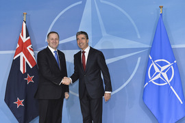 NATO Secretary General Anders Fogh Rasmussen welcomes the Prime Minister of New Zealand, John Key to NATO Headquarters.