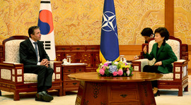 Left to right: NATO Secretary General Anders Fogh Rasmussen in bilateral discussion with President Park Geun-hye of the Republic of Korea