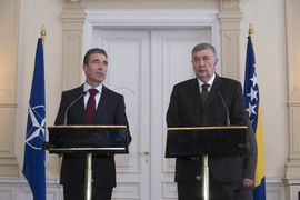 Joint press conference with NATO Secretary General Anders Fogh Rasmussen and Nebojsa Radmanovic, Chairman of the BiH Presidency