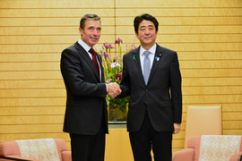 NATO Secretary General Anders Fogh Rasmussen and the Prime Minister of Japan Shinzo Abe