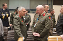 Left to right: General Mikhail Kostarakos (Chief of Defence, Greece) talking with Lt. General Sean Mc Cann (Chief of Defence, Ireland)