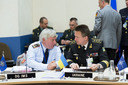 Left to right: Lt. General Jurgen Bornemann (Director of IMS) talking with Admiral Ihor Kabanenko (Deputy Chief of Defence, Ukraine)