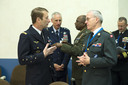 Left to right: General Patrick de Rousiers (Chairman of the EU Military Committee) talking with General Knud Bartels (Chairman of the NATO Military Committee)