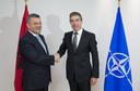 Left to right: Arben Imami (Minister of Defence, Albania) shaking hands with NATO Secretary General Anders Fogh Rasmussen