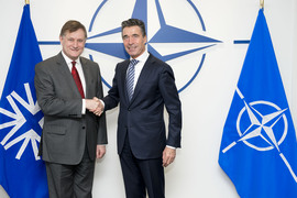 The President of the NATO Parliamentary Assembly, Hugh Bayley and NATO Secretary General Anders Fogh Rasmussen