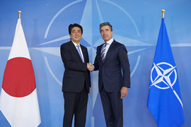 NATO Secretary General Anders Fogh Rasmussen shaking hands with the Prime Minister of Japan, Shinzo Abe