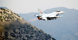 Norwegian F-16 flying over Suda Bay as part of the enforcement of the No-Fly Zone and the protection of the Libyan civilian population under Operation Unified Protector.