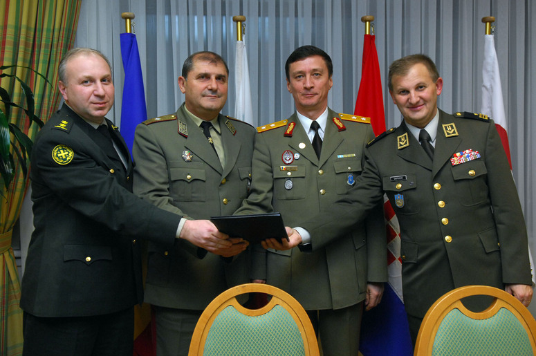 (From left to right) Lt. Col. Mamuka Tskhvediani, Chief J4 of the Joint Staff of the Ministry of Defence of Georgia, Brig. Gen. Boyko Milanov Rabadzhiyski, Chief J4 of the General Staff of the Ministry of Defence of the Republic of Bulgaria, Maj. Gen. Petru Bejinariu, Chief J4 of the General Staff of the Ministry of Defence of Romania and Brig. Gen. Mate Ostovic, Chief J4 of the General Staff of the Ministry of Defence of the Republic of Croatia