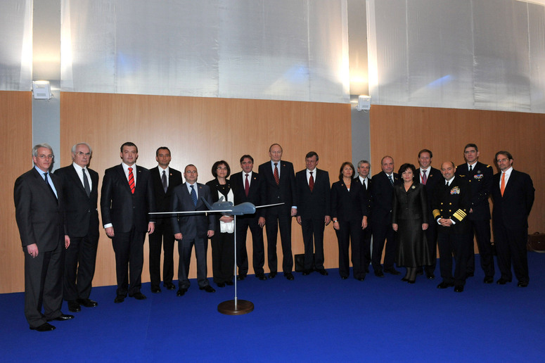 In the margins of their informal meeting in Bratislava, on 22-23 October 2009, Defence Ministers had a short gathering to mark progress on the AGS programme, conducted by a group of 15 Allied nations. The Ministers met in front of a 1/20 scale model of a NATO marked Global Hawk Unmanned Aerial Vehicle, which will form the air segment of an Alliance-wide Intelligence, Surveillance and Reconnaissance capability.