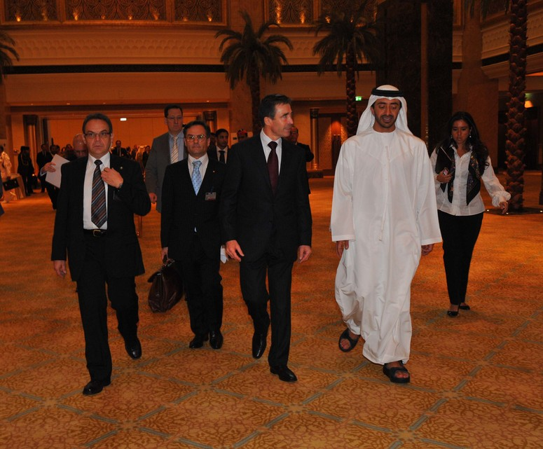 Opening of the conference. NATO Secretary General H.E.Mr. Anders Fogh Rasmussen arrives at the Emirates Palace accompanied by UAE Foreign Minister H.H. Sheikh Abdallah bin Zayed Al-Nahyan