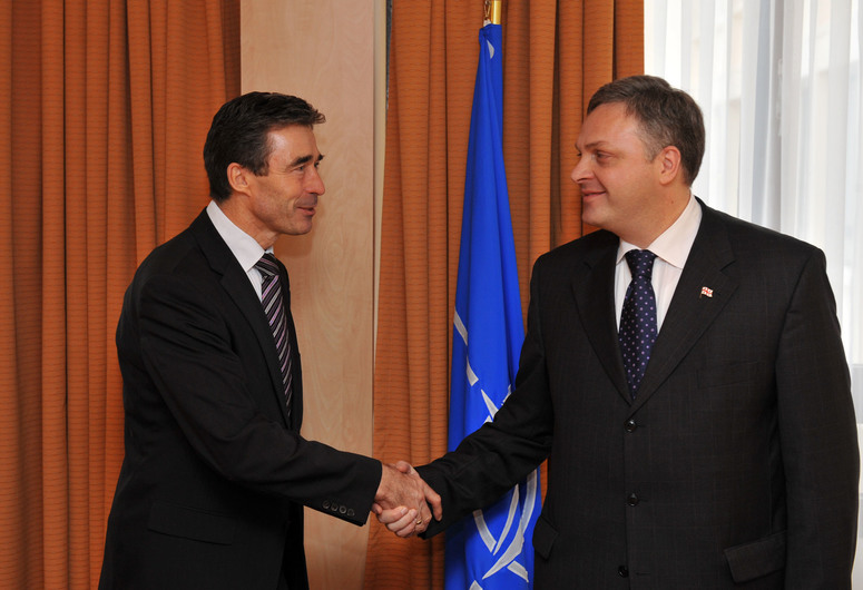 Left to right: NATO Secretary General, Anders Fogh Rasmussen shaking hands with  Giorgi Baramidze (Georgian Deputy Prime Minister and State Minister for European and Euro-Atlantic Integration)