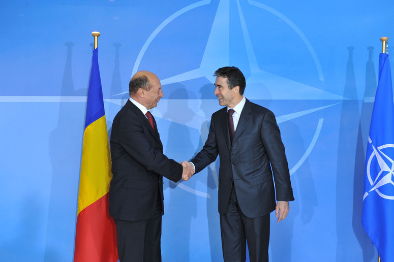 From left to right: Traian Basescu, President of Romania and NATO Secretary General Anders Fogh Rasmussen.
