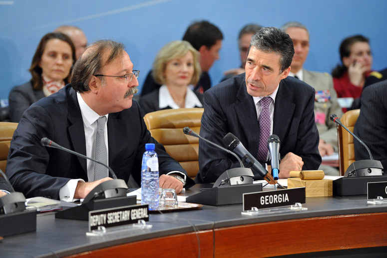Left to right: Grigol Vashadze (Minister of Foreign Affairs of Georgia) with NATO Secretary General, Anders Fogh Rasmussen