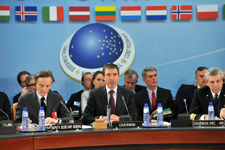 Left to right: Ambassador Claudio Bisogniero (NATO Deputy Secretary General) with NATO Secretary General, Anders Fogh Rasmussen and Admiral Giamplaolo Di Paola (Chairman of the NATO Military Committee