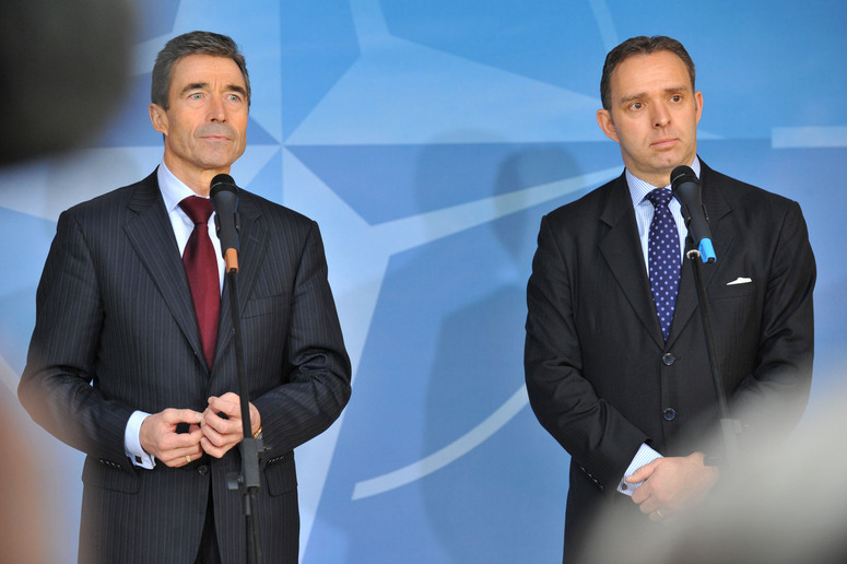 Joint Press Point Left to right : NATO Secretary General, Anders Fogh Rasmussen and Mark Sedwill, new appointly SeniorCivilian Representative in Afghanistan