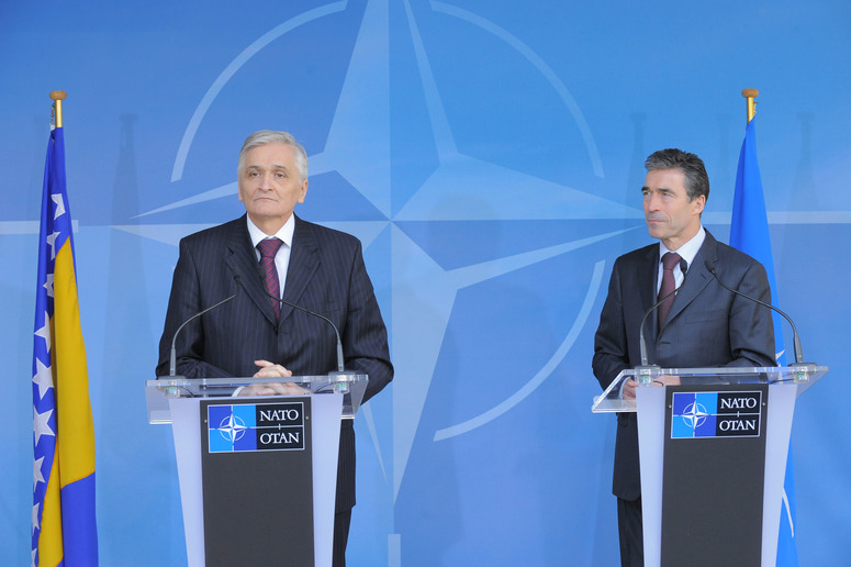 Joint press point with NATO Secretary General Anders Fogh Rasmussen and the Chairman of the Council of Ministers of Bosnia and Herzegovina, Mr. Nikola Spiric.