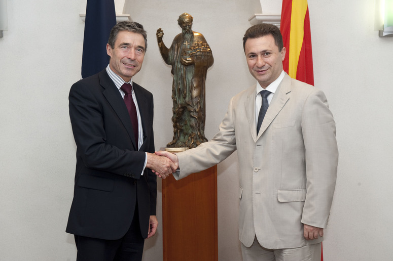 NATO Secretary General Anders Fogh Rasmussen shaking hands with Prime Minister Nikola Gruevski of the former Yugoslav Republic of Macedonia.