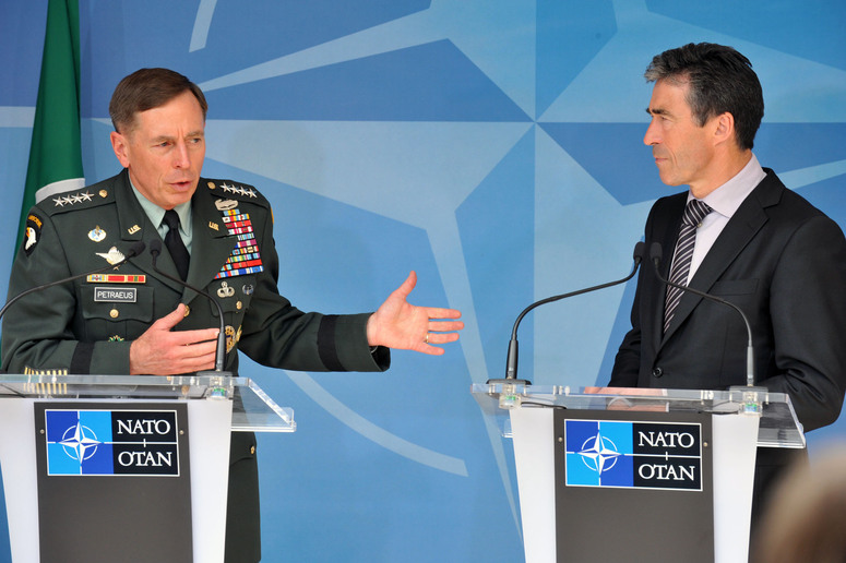(left to right)  General David H. Petraeus (new Commander of ISAF) and NATO Secretary General Anders Fogh Rasmussen during their meeting with the press