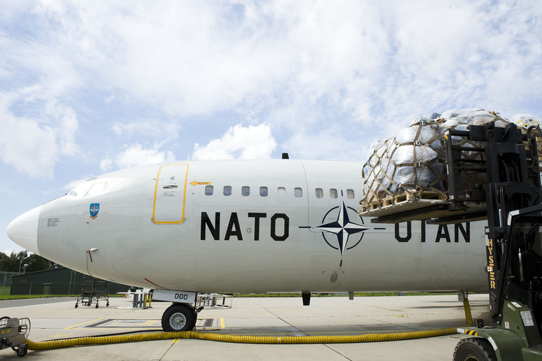A Trainer Cargo Aircraft of the NATO Airborne Early Warning and Control Force (AWACS) ready to transport relief goods to Pakistan
