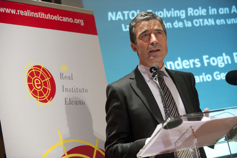 NATO Secretary General Anders Fogh Rasmussen delivering his key-note speech at the Fundacion Lazaro Galdiano, organized by the Royal Elcano Institute.