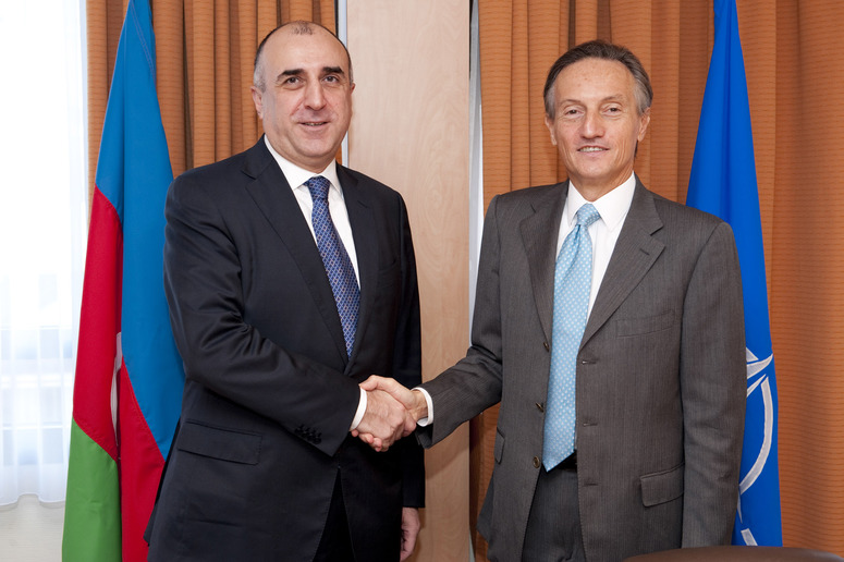 Bilateral meeting with NATO Deputy Secretary General left to right: Elmar Mamediarov (Minister of Foreign Affairs of Azerbaijan) shaking hands with NATO Deputy Secretary General, Ambassador Claudio Bisogniero