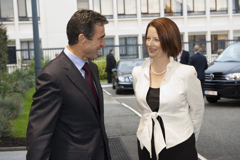 Arrival Left to right: NATO Secretary General, Anders Fogh Rasmussen greets Julia Eileen Gillard (Prime Minister of Australia) upon her arrival to NATO