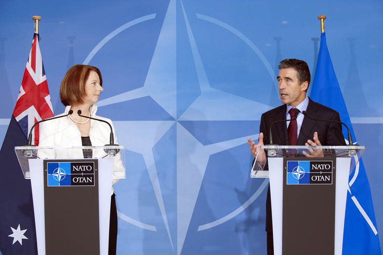 Joint Press Point Left to right: Julia Eileen Gillard (Prime Minister of Australia) with NATO Secretary General, Anders Fogh Rasmussen