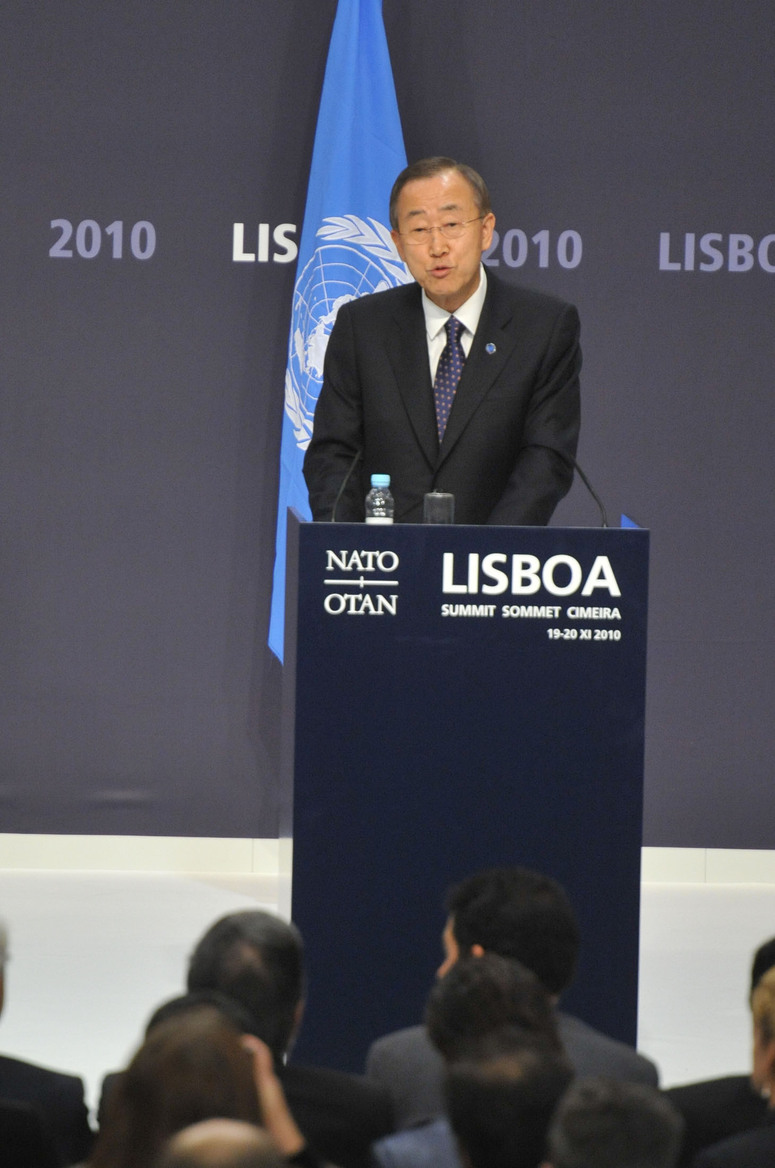 UN Secretary-General Ban Ki-moon during the joint press point with NATO Secretary General Anders Fogh Rasmussen and President Hamid Karzai of Afghanistan.