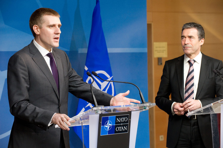Joint Press Conference. Left to right: Igor Luksi  (Prime Minister of Montenegro) with NATO Secretary General, Anders Fogh Rasmussen