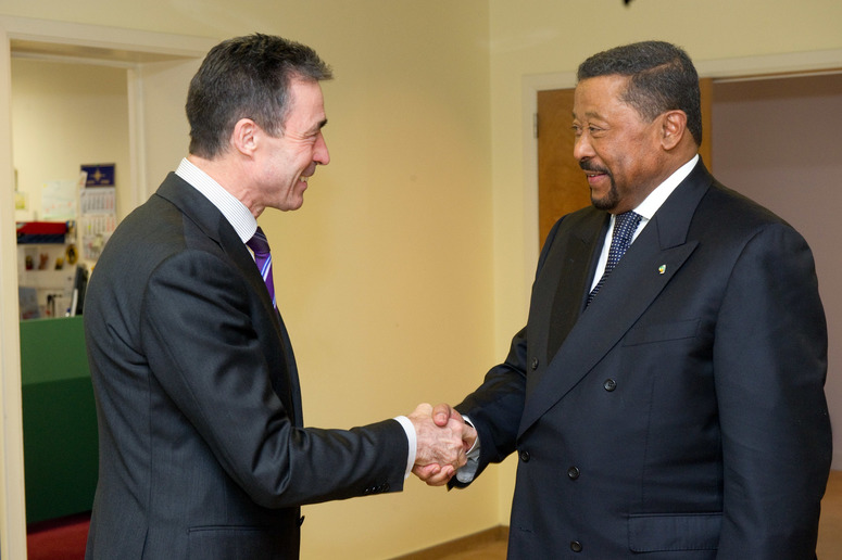Left to right: NATO Secretary General, Anders Fogh Rasmussen shaking hands with Jean Ping, Chairman of the African Union