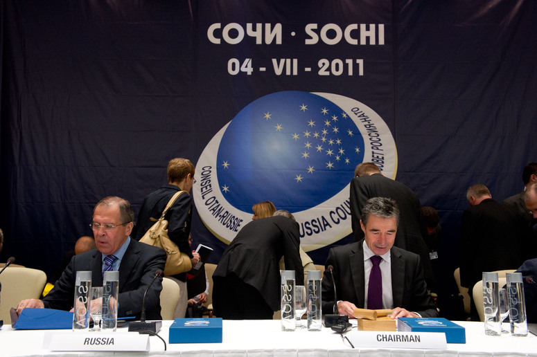 NATO-Russia Council meeting in Sochi, Russia. View of the room. Left to right: Russian Minister of Foreign Affairs, Sergei Lavrov and NATO Secretary General Anders Fogh Rasmussen.