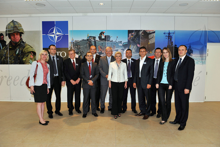 Visit to NATO by Serbian parliamentarians. Group photo.